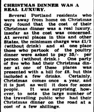CHRISTMAS DINNER WAS A REAL LUXURY. (1952, January 17). Portland Guardian (Vic. : 1876 - 1953), p. 3 Edition: MIDDAY. Retrieved December 21, 2012, from http://nla.gov.au/nla.news-article64430580