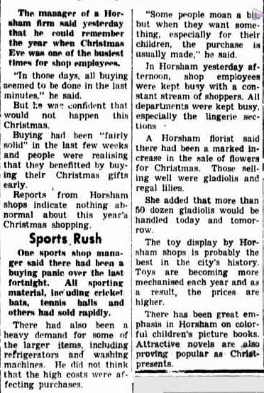 SHOPPING RUSH NOT SO BAD THIS YEAR Many Doing Christmas Shopping Earlier. (1952, December 23). The Horsham Times (Vic. : 1882 - 1954), p. 1. Retrieved December 21, 2012, from http://nla.gov.au/nla.news-article72788030