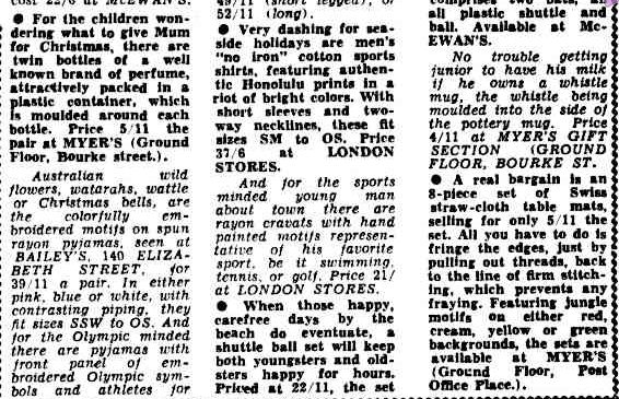 CHRISTMAS GIFTS. (1956, November 28). The Argus (Melbourne, Vic. : 1848 - 1956), p. 9. Retrieved December 21, 2012, from http://nla.gov.au/nla.news-article71768469