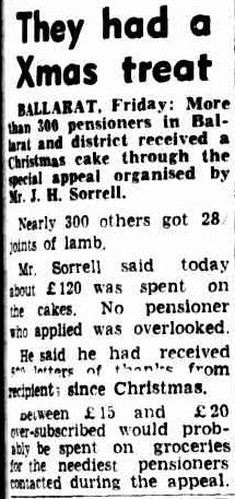 They had a Xmas treat. (1957, January 5). The Argus (Melbourne, Vic. : 1848 - 1956), p. 7. Retrieved December 23, 2012, from http://nla.gov.au/nla.news-article71774826