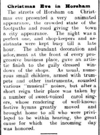 Christmas Eye in Horsham. (1907, December 31). The Horsham Times (Vic. : 1882 - 1954), p. 2. Retrieved December 4, 2012, from http://nla.gov.au/nla.news-article72806085