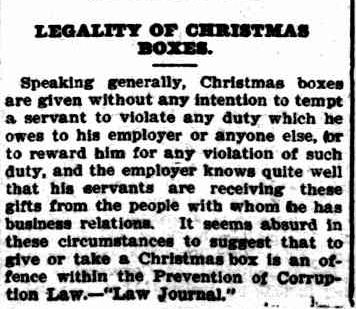 LEGALITY OF CHRISTMAS BOXES. (1908, January 24). The Colac Herald (Vic. : 1875 - 1918), p. 6. Retrieved December 4, 2012, from http://nla.gov.au/nla.news-article93273594