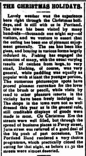 THE CHRISTMAS HOLIDAYS. (1908, December 30). Portland Guardian (Vic. : 1876 - 1953), p. 3 Edition: EVENING. Retrieved December 4, 2012, from http://nla.gov.au/nla.news-article63986559