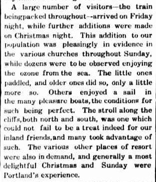 Xmas Holidays. (1909, December 29). Portland Guardian (Vic. : 1876 - 1953), p. 3 Edition: EVENING. Retrieved December 4, 2012, from http://nla.gov.au/nla.news-article63990393