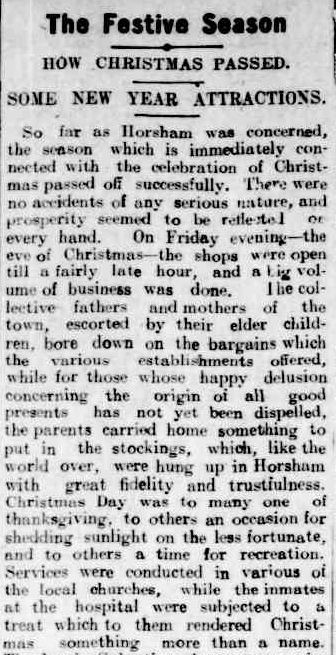 The Festive Season. (1909, December 31). The Horsham Times (Vic. : 1882 - 1954), p. 4. Retrieved December 4, 2012, from http://nla.gov.au/nla.news-article72964576