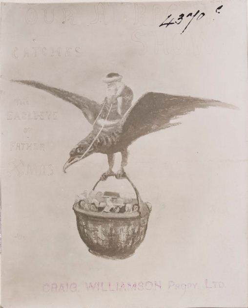 Father Christmas on eagle carrying basket of toys by Miss M. Scott. (1906).  Courtesy of the State Library of Victoria http://handle.slv.vic.gov.au/10381/54176