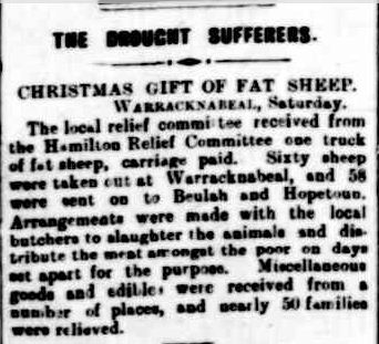 THE DROUGHT SUFFERERS. (1902, December 30). The Horsham Times (Vic. : 1882 - 1954), p. 3. Retrieved December 3, 2012, from http://nla.gov.au/nla.news-article72852456