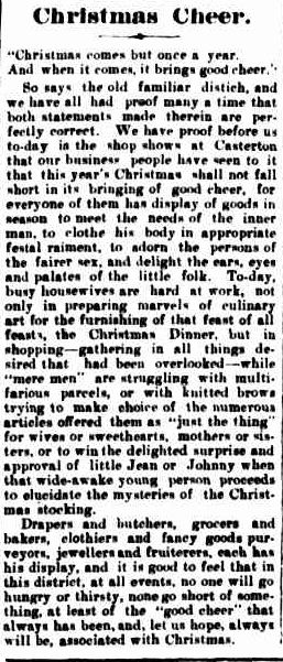 Christmas Cheer. (1914, December 24). The Casterton News and the Merino and Sandford Record (Vic. : 1914 - 1918), p. 3 Edition: Bi-Weekly. Retrieved December 9, 2012, from http://nla.gov.au/nla.news-article74763493