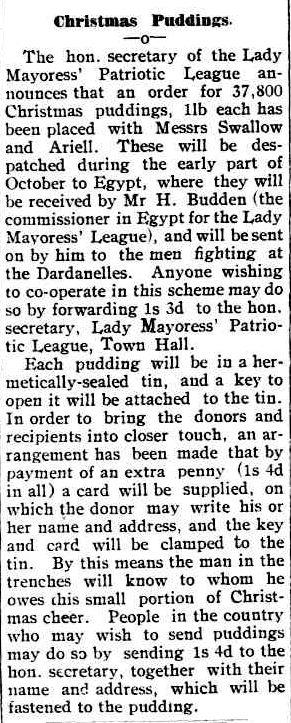 Christmas Puddings. (1915, September 23). Port Fairy Gazette (Vic. : 1914 - 1918), p. 4 Edition: EVENING. Retrieved December 9, 2012, from http://nla.gov.au/nla.news-article94724253