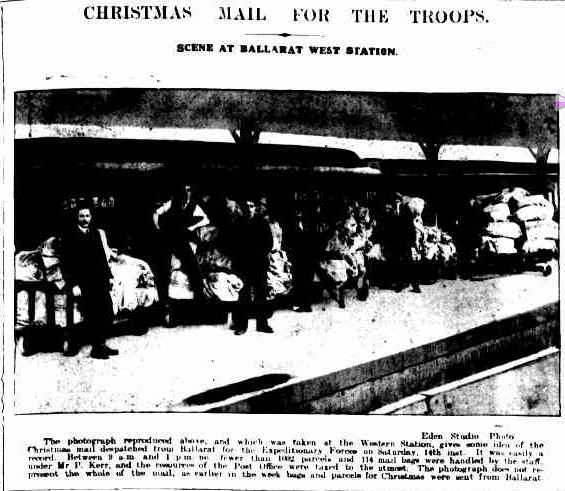 CHRISTMAS MAIL FOR THE TROOPS. (1916, October 23). The Ballarat Courier (Vic. : 1914 - 1918), p. 5 Edition: DAILY.. Retrieved December 9, 2012, from http://nla.gov.au/nla.news-article74688931