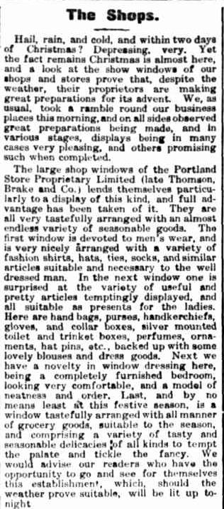 The Shops. (1910, December 23). Portland Guardian (Vic. : 1876 - 1953), p. 3 Edition: EVENING. Retrieved December 9, 2012, from http://nla.gov.au/nla.news-article63979222chris19102