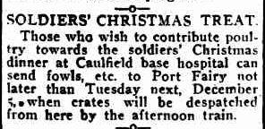 SOLDIERS' CHRISTMAS TREAT. (1916, November 30). Port Fairy Gazette (Vic. : 1914 - 1918), p. 2 Edition: EVENING. Retrieved December 9, 2012, from http://nla.gov.au/nla.news-article88007022