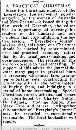 A PRACTICAL CHRISTMAS. (1916, December 18). Port Fairy Gazette (Vic. : 1914 - 1918), p. 2 Edition: EVENING. Retrieved December 9, 2012, from http://nla.gov.au/nla.news-article88007787