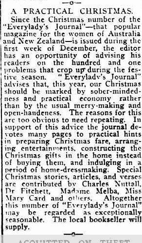 A PRACTICAL CHRISTMAS. (1916, December 18). Port Fairy Gazette (Vic. : 1914 - 1918), p. 2 Edition: EVENING. Retrieved December 9, 2012, from http://nla.gov.au/nla.news-article88007787