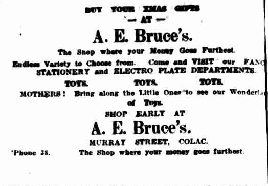 Advertising. (1917, December 19). The Colac Herald (Vic. : 1875 - 1918), p. 6. Retrieved December 9, 2012, from http://nla.gov.au/nla.news-article75251363