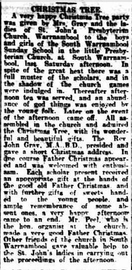 CHRISTMAS TREE. (1917, December 29). Warrnambool Standard (Vic. : 1914 - 1918), p. 3 Edition: DAILY.. Retrieved December 9, 2012, from http://nla.gov.au/nla.news-article73974530