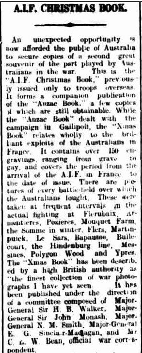 A.I.F. CHRISTMAS BOOK. (1918, November 6). The Colac Herald (Vic. : 1875 - 1918), p. 4. Retrieved December 9, 2012, from http://nla.gov.au/nla.news-article74474740