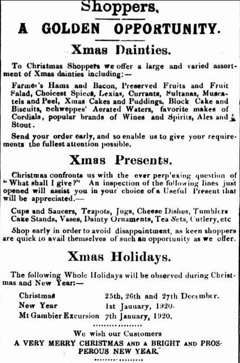 Advertising. (1919, December 11). Portland Guardian (Vic. : 1876 - 1953), p. 3 Edition: EVENING. Retrieved December 9, 2012, from http://nla.gov.au/nla.news-article63960345