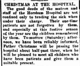 CHRISTMAS AT THE HOSPITAL. (1919, December 19). The Horsham Times (Vic. : 1882 - 1954), p. 4. Retrieved December 9, 2012, from http://nla.gov.au/nla.news-article73188106
