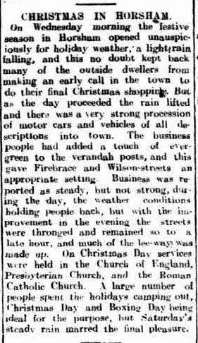 CHRISTMAS IN HORSHAM. (1919, December 30). The Horsham Times (Vic. : 1882 - 1954), p. 4. Retrieved December 9, 2012, from http://nla.gov.au/nla.news-article73188311