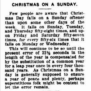 CHRISTMAS ON A SUNDAY. (1912, December 20). The Horsham Times (Vic. : 1882 - 1954), p. 17 Supplement: CHRISTMAS SUPPLEMENT 1912 Horsham Times.. Retrieved December 9, 2012, from http://nla.gov.au/nla.news-article73132675