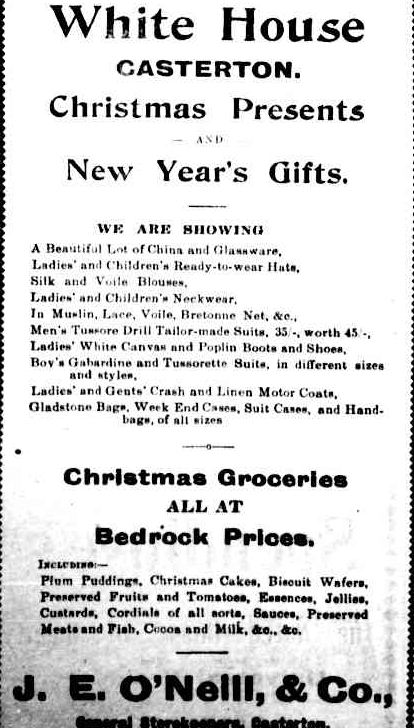 Advertising. (1918, January 7). The Casterton News and the Merino and Sandford Record (Vic. : 1914 - 1918), p. 2 Edition: Bi-Weekly. Retrieved December 9, 2012, from http://nla.gov.au/nla.news-article74219706