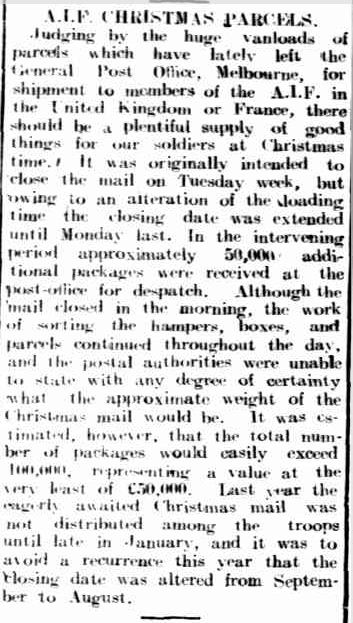 A.I.F. CHRISTMAS PARCELS. (1918, August 16). The Horsham Times (Vic. : 1882 - 1954), p. 7. Retrieved December 9, 2012, from http://nla.gov.au/nla.news-article72987289