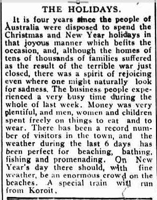 THE HOLIDAYS. (1918, December 30). Port Fairy Gazette (Vic. : 1914 - 1918), p. 2 Edition: EVENING. Retrieved December 10, 2012, from http://nla.gov.au/nla.news-article91994828