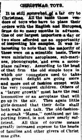 CHRISTMAS TOYS. (1913, August 4). The Colac Herald (Vic. : 1875 - 1918), p. 4. Retrieved December 9, 2012, from http://nla.gov.au/nla.news-article93194152