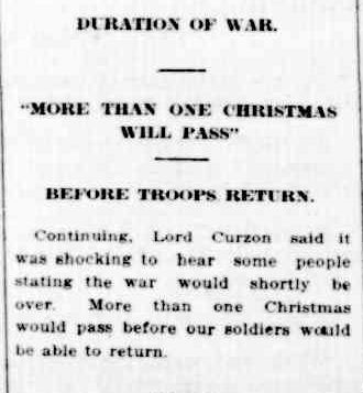 DURATION OF WAR. (1914, October 14). The Colac Herald (Vic. : 1875 - 1918), p. 5. Retrieved December 9, 2012, from http://nla.gov.au/nla.news-article74263644