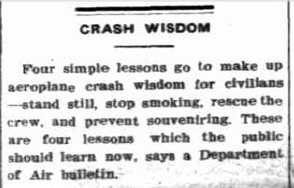 CRASH WISDOM. (1942, May 1). The Charleville Times (Brisbane, Qld. : 1896 - 1954), p. 2. Retrieved December 3, 2012, from http://nla.gov.au/nla.news-article7699277