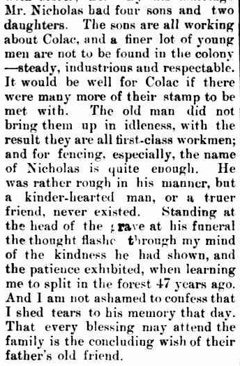 MEMOIR OF A DEPARTED COLONIST. (1891, January 2). The Colac Herald (Vic. : 1875 - 1918), p. 4. Retrieved December 27, 2012, from http://nla.gov.au/nla.news-article87728049