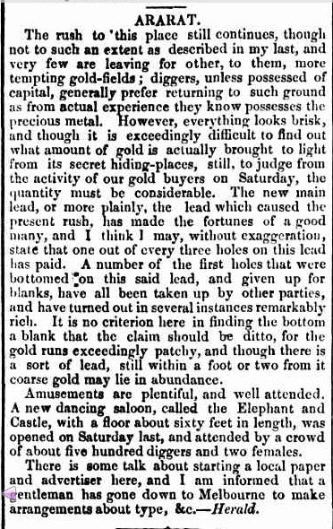 ARARAT. (1856, June 27). Bendigo Advertiser (Vic. : 1855 - 1918), p. 2. Retrieved January 25, 2013, from http://nla.gov.au/nla.news-article88050962