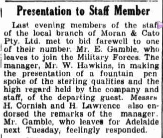 Presentation to Staff Member. (1942, October 3). Border Watch (Mount Gambier, SA : 1861 - 1954), p. 1. Retrieved January 13, 2013, from http://nla.gov.au/nla.news-article78117772