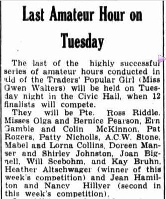 Last Amateur Hour on Tuesday. (1942, October 24). Border Watch (Mount Gambier, SA : 1861 - 1954), p. 3. Retrieved January 15, 2013, from http://nla.gov.au/nla.news-article78118758