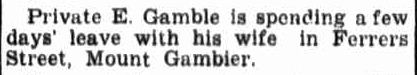 PERSONAL. (1942, November 12). Border Watch (Mount Gambier, SA : 1861 - 1954), p. 1. Retrieved January 15, 2013, from http://nla.gov.au/nla.news-article78119426