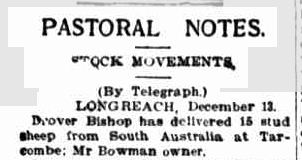 PASTORAL NOTES. (1913, December 15). Townsville Daily Bulletin (Qld. : 1885 - 1954), p. 5. Retrieved January 25, 2013, from http://nla.gov.au/nla.news-article60386074