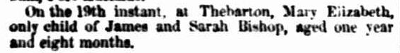 Family Notices. (1855, March 26). South Australian Register (Adelaide, SA : 1839 - 1900), p. 2. Retrieved January 24, 2013, from http://nla.gov.au/nla.news-article49308047