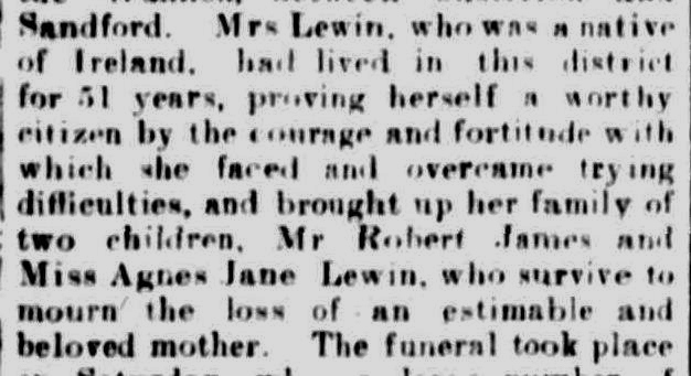 Obituary. (1917, January 8). The Casterton News and the Merino and Sandford Record (Vic. : 1914 - 1918), p. 3 Edition: Bi-Weekly. Retrieved January 26, 2013, from http://nla.gov.au/nla.news-article74488021