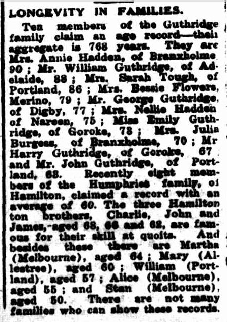 LONGEVITY IN FAMILIES. (1951, January 4). Portland Guardian (Vic. : 1876 - 1953), p. 3 Edition: MIDDAY.. Retrieved January 28, 2013, from http://nla.gov.au/nla.news-article64427264