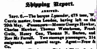 Shipping Report. (1840, September 8). Southern Australian (Adelaide, SA : 1838 - 1844), p. 3. Retrieved January 26, 2013, from http://nla.gov.au/nla.news-article71619943
