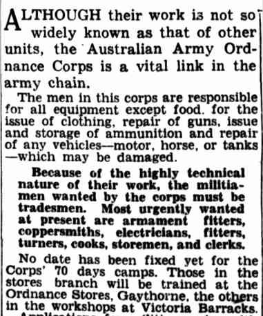 Men Wanted For Militia.—No. 7. (1940, August 6). The Courier-Mail (Brisbane, Qld. : 1933 - 1954), p. 4. Retrieved January 17, 2013, from http://nla.gov.au/nla.news-article40949865