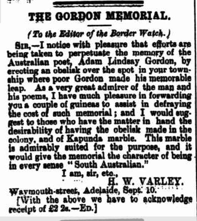 THE GORDON MEMORIAL. (1886, September 15). Border Watch (Mount Gambier, SA : 1861 - 1954), p. 3. Retrieved February 7, 2013, from http://nla.gov.au/nla.news-article77548266
