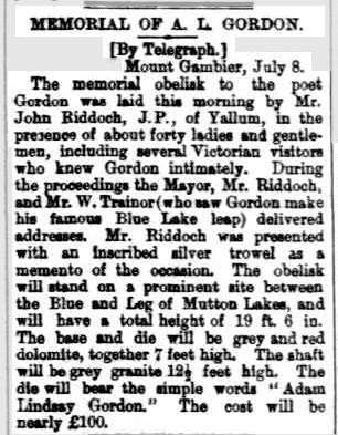 MEMORIAL OF A. L. GORDON. (1887, July 9). South Australian Register (Adelaide, SA : 1839 - 1900), p. 5. Retrieved February 8, 2013, from http://nla.gov.au/nla.news-article46794085