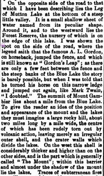 NOTES OF A HOLIDAY TRIP TO THE SOUTH-EAST. (1881, December 13). Northern Argus (Clare, SA : 1869 - 1954), p. 3. Retrieved February 17, 2013, from http://nla.gov.au/nla.news-article97285462