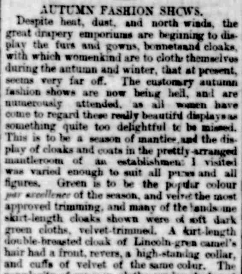 LADIES' COLUMN. (1889, March 1). Portland Guardian (Vic. : 1876 - 1953), p. 3 Edition: EVENING, Supplement: SUPPLEMENT TO THE PORTLAND GUARDIAN. Retrieved February 25, 2013, from http://nla.gov.au/nla.news-article63592223