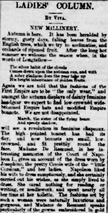 LADIES' COLUMN. (1889, March 15). Portland Guardian (Vic. : 1876 - 1953), p. 3 Edition: EVENING, Supplement: SUPPLEMENT TO THE PORTLAND GUARDIAN. Retrieved February 25, 2013, from http://nla.gov.au/nla.news-article63622402