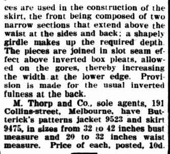LADIES' COSTUME. (1907, April 12). The Horsham Times (Vic. : 1882 - 1954), p. 1 Supplement: Supplement to the Horsham Times. Retrieved February 26, 2013, from http://nla.gov.au/nla.news-article72939046