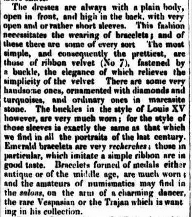 FASHIONS FOR SEPTEMBER. (1850, December 26). The Cornwall Chronicle (Launceston, Tas. : 1835 - 1880), p. 943. Retrieved February 24, 2013, from http://nla.gov.au/nla.news-article65576052
