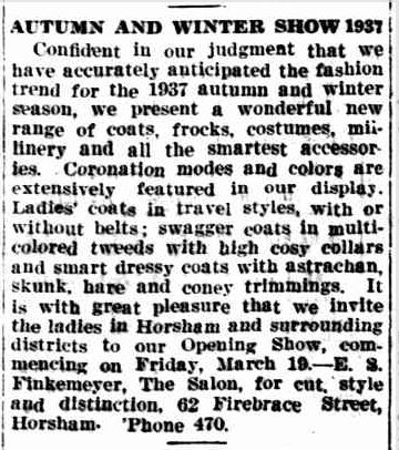 AUTUMN AND WINTER SHOW 1937. (1937, March 26). The Horsham Times (Vic. : 1882 - 1954), p. 4. Retrieved February 27, 2013, from http://nla.gov.au/nla.news-article73110816